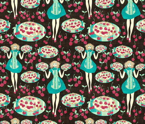 cherry pie fabric by kociara on Spoonflower - custom fabric