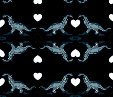 Jurassic Film Noir Romantic Encounter fabric by clotilda_warhammer on Spoonflower - custom fabric
