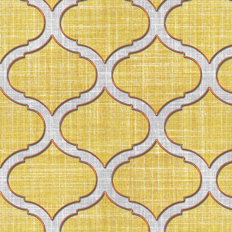Faux Linen trellis motif cream fabric by joanmclemore on Spoonflower - custom fabric