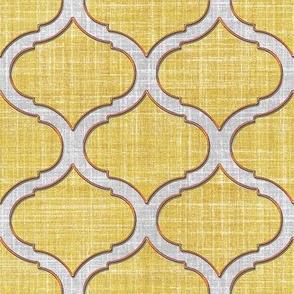 Faux Linen trellis motif cream