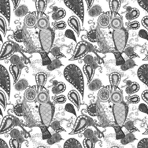Owl_fabric_paisley_bw