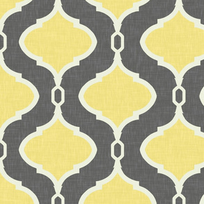 Alessandra Trellis in Charcoal and Lemon