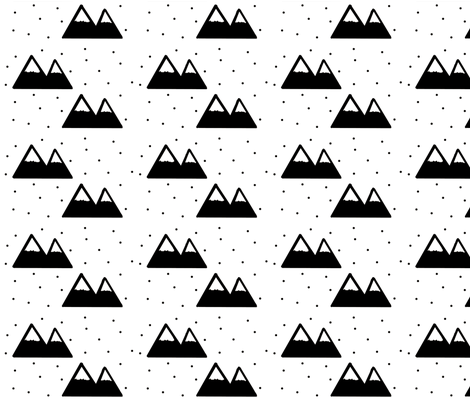 Black Mountain - Snow Cap Mountains fabric by modfox on Spoonflower - custom fabric
