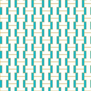 """I"" teal and orange plaid"