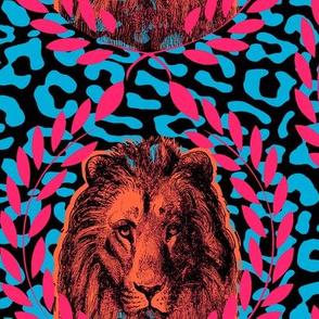 lion on turqois leopard