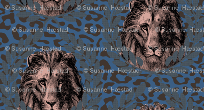 lions on blue/brown leopard