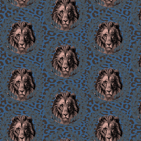 lions on blue/brown leopard fabric by susiprint on Spoonflower - custom fabric