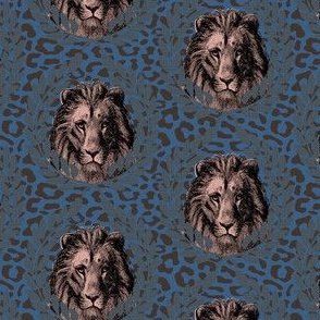 lions on blue/brown leopard