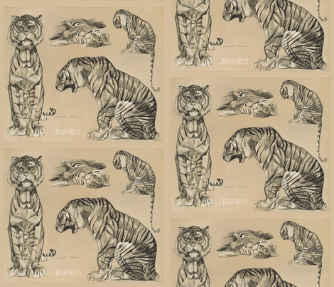Meheut tigers fabric by craftyscientists on Spoonflower - custom fabric