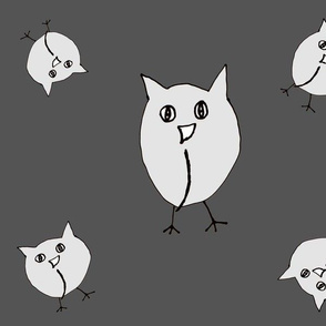 Tossed Owls gray white