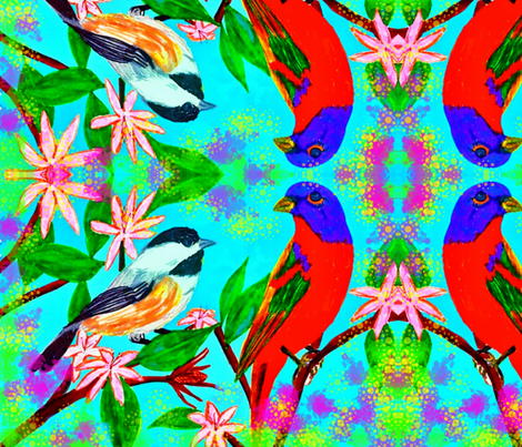 Painted Birds fabric by charldia on Spoonflower - custom fabric