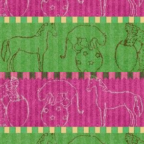 Circus Animals - green, fuchsia