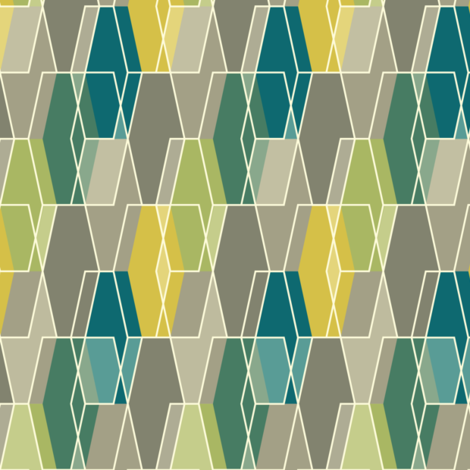 Elongated Hexagon Composite - Green fabric by linkolisa on Spoonflower - custom fabric