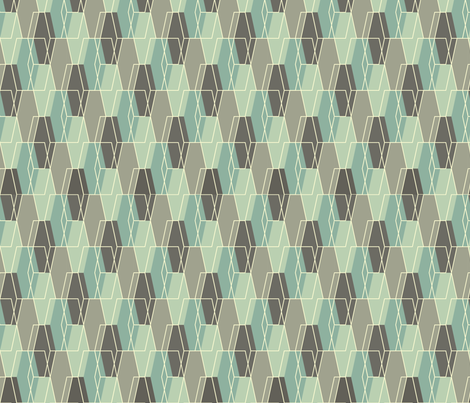 Elongated Hexagon Composite - Aqua fabric by linkolisa on Spoonflower - custom fabric