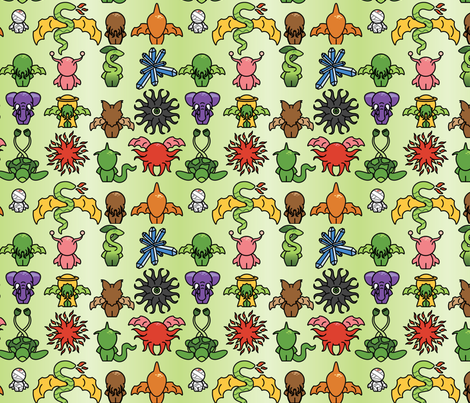 Chibi Great Old Ones - 8in fabric by studiofibonacci on Spoonflower - custom fabric