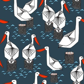 Pelicans - Parisian Blue/White/Soft Blue by Andrea Lauren