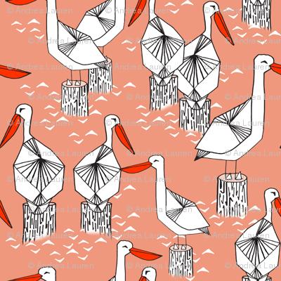 Pelicans - Tea Rose/Champagne by Andrea Lauren