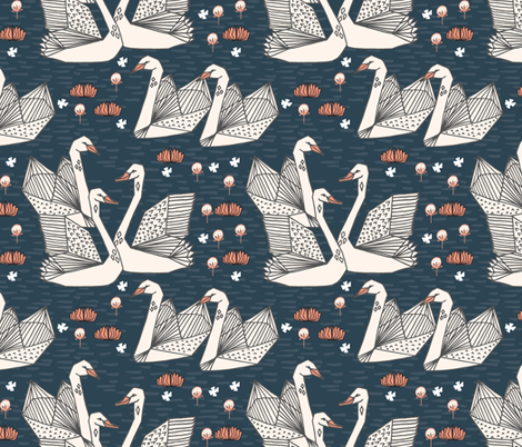 swans // lily pond swans geo dark blue navy blue swan bird girls sweet  fabric by andrea_lauren on Spoonflower - custom fabric