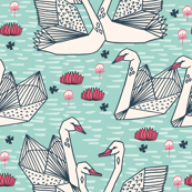 Geometric Swans - Pale Turquoise/French Rose by Andrea Lauren