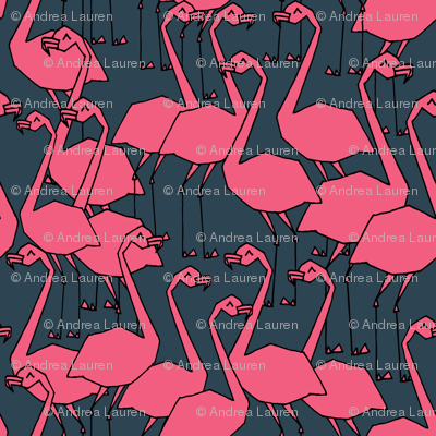 Flamingos - Parisian Blue/French Rose by Andrea Lauren
