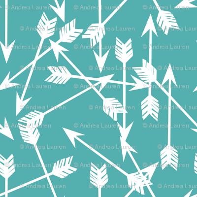arrows scattered // aqua tribal southwest design in aqua teal blue