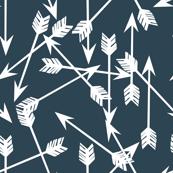 arrows scattered // dark blue gray blue boy nursery design