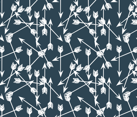 arrows scattered // dark blue gray blue boy nursery design fabric by andrea_lauren on Spoonflower - custom fabric