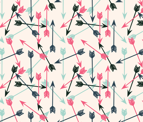 arrows scattered // off-white pink mint and navy girly arrows print fabric by andrea_lauren on Spoonflower - custom fabric