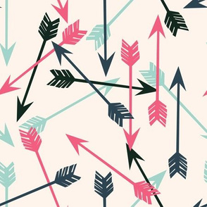 arrows scattered // off-white pink mint and navy girly arrows print