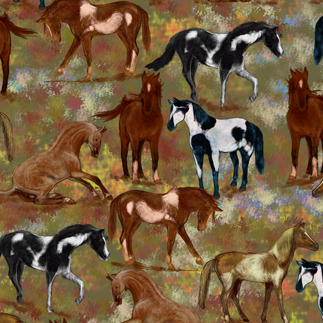 Autumn Horses fabric by eclectic_house on Spoonflower - custom fabric