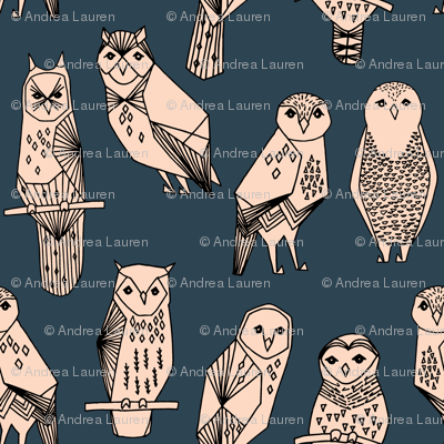 owl // blush and navy hand-drawn illustration bird owl by Andrea Lauren