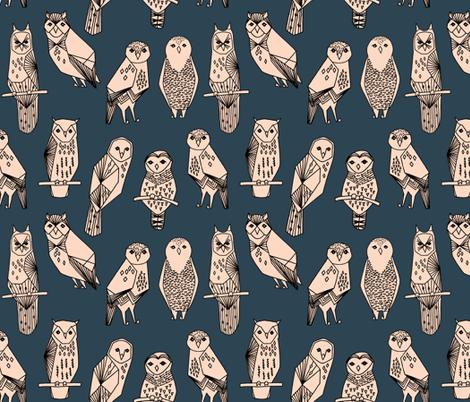 owl // blush and navy hand-drawn illustration bird owl by Andrea Lauren fabric by andrea_lauren on Spoonflower - custom fabric
