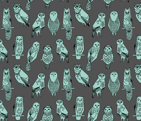 owls // grey and mint charcoal baby nursery hand-drawn illustration by Andrea Lauren fabric by andrea_lauren on Spoonflower - custom fabric
