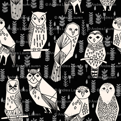 owl // black cream hand-drawn seamless bird owl illustration by Andrea Lauren