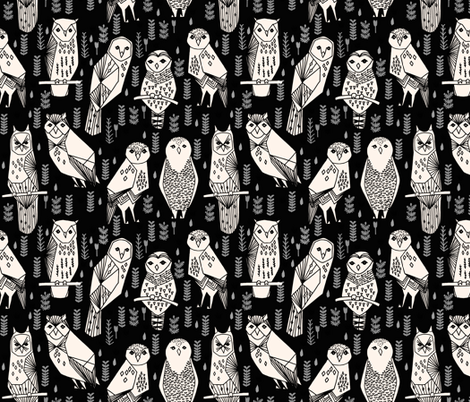 owl // black cream hand-drawn seamless bird owl illustration by Andrea Lauren fabric by andrea_lauren on Spoonflower - custom fabric