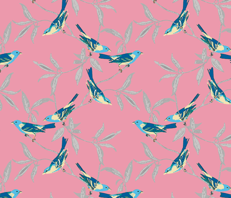 Blue Birds on Coral fabric by stitchstapleglue on Spoonflower - custom fabric