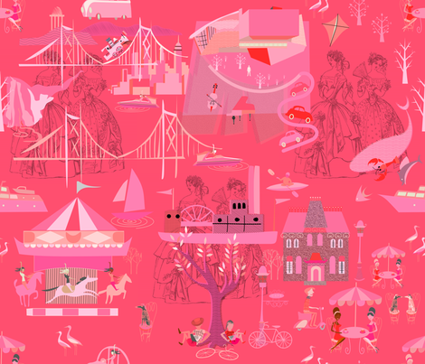 Hot Pink Heather Toile fabric by chickoteria on Spoonflower - custom fabric