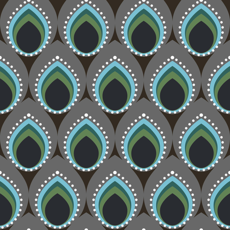 I've got the muted peacock feather blues fabric by vo_aka_virginiao on Spoonflower - custom fabric