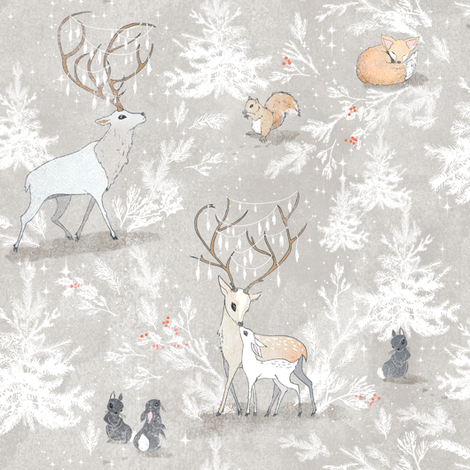 Vintage Woodland Christmas (SMALL) fabric by nouveau_bohemian on Spoonflower - custom fabric