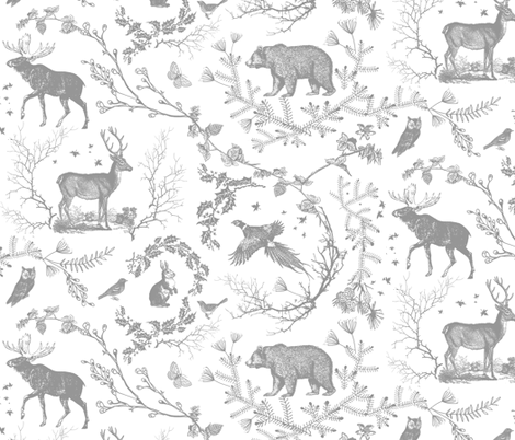Winter Toile(grey and white) fabric by nouveau_bohemian on Spoonflower - custom fabric