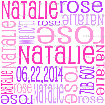Personalised Birth Details - Pinks and Purples