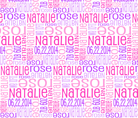 Personalised Birth Details - Pinks and Purples fabric by shelleymade on Spoonflower - custom fabric