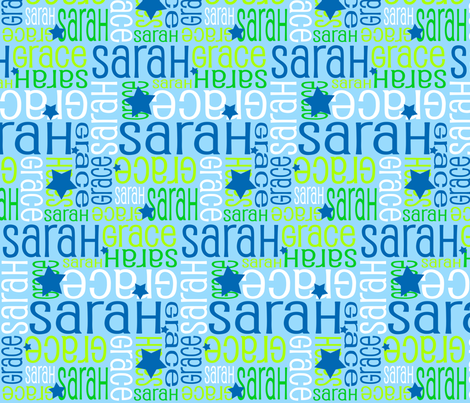 Personalised Name Fabric - Stars in Blue Green White fabric by shelleymade on Spoonflower - custom fabric