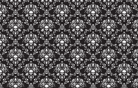 Black and White Skull Damask fabric by elizabeth on Spoonflower - custom fabric