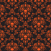 Black and Orange Skull Damask