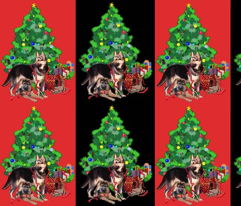 German_shepherd_christmas fabric by dogdaze_ on Spoonflower - custom fabric