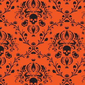 Orange and Black Skull Damask