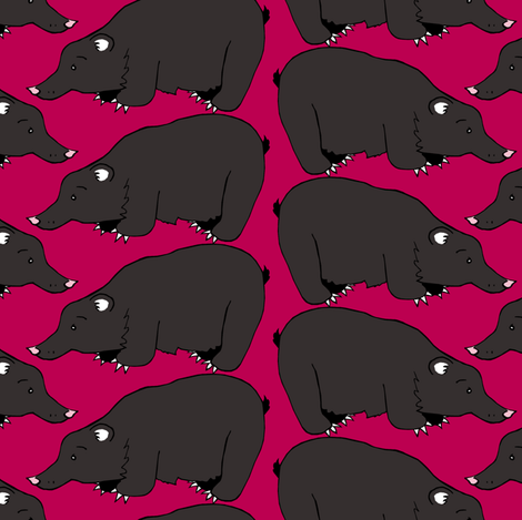 Black Bear on Strawberry Red fabric by pond_ripple on Spoonflower - custom fabric