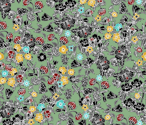 cloisonne flowers sage fabric by scrummy on Spoonflower - custom fabric