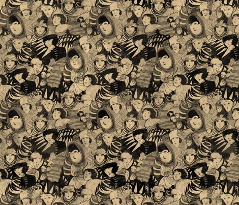 Madge Gill inspired ghosts fabric by lusykoror on Spoonflower - custom fabric